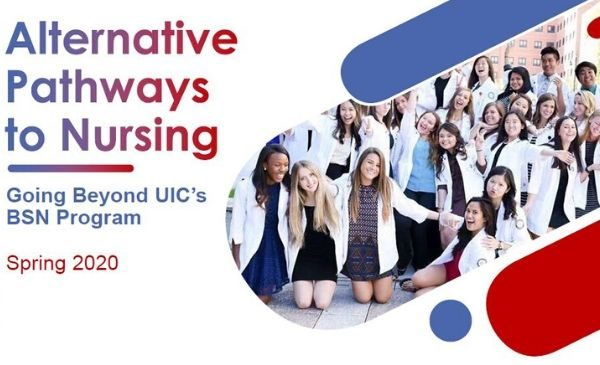 title slide of presentation with the title alternative nursing pathways with an image of a large group of nursing student in short white coats.