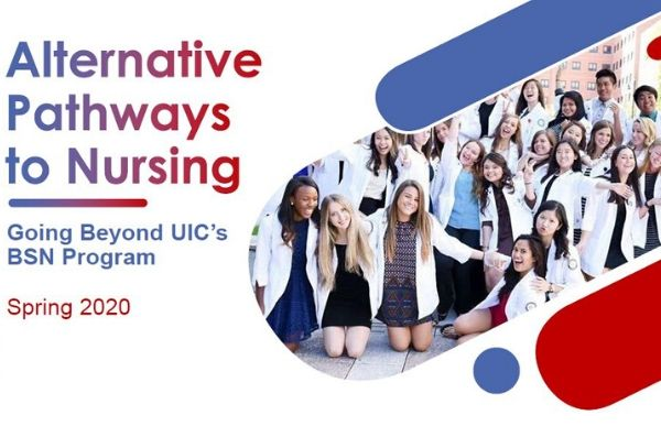 title alternative pathways to nursing with a large group of diverse nursing students wearing short white coats