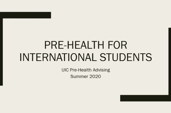 title slide of presentation with the title Pre-Health for International Students
