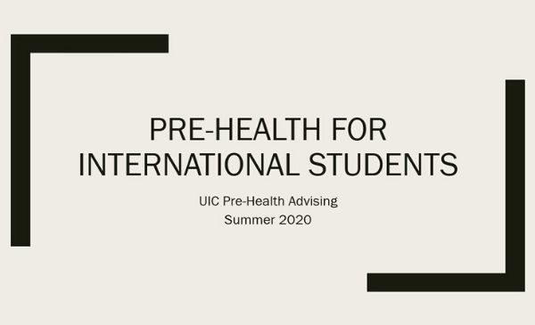 title slide with words pre-health for international student summer 2020
