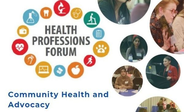 health professions forum logo with photos of students and words community health and advocacy