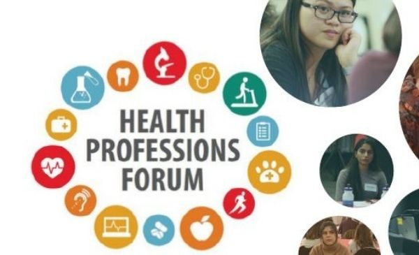 small health related icons in a circle around the words Health Professions Forum