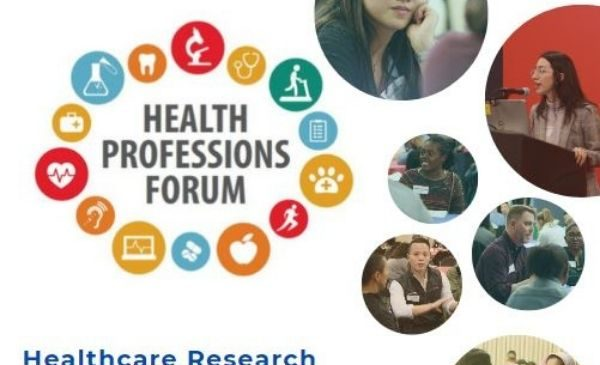 health professions forum logo with photos of students and words healthcare research